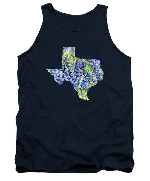 Texas Blue Texas Map On White Tank Top