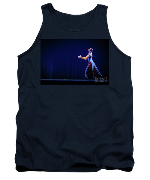 Tank Top featuring the photograph The Beautiful Ballerina Dancing In Blue Long Dress by Dimitar Hristov