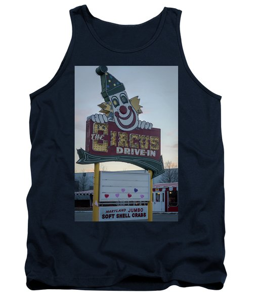 Tank Top featuring the photograph The Circus Drive In Sign Wall Township Nj by Terry DeLuco