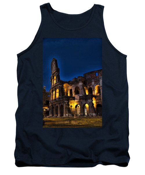 The Coleseum In Rome At Night Tank Top by David Smith