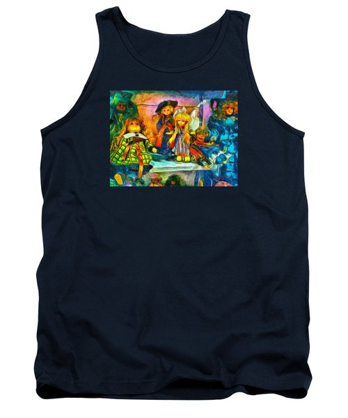 Tank Top featuring the digital art The Dolls by Leigh Kemp