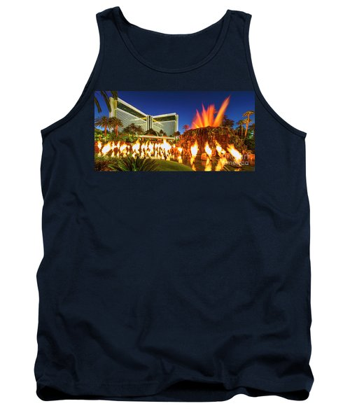 The Mirage Casino And Volcano Eruption At Dusk Tank Top