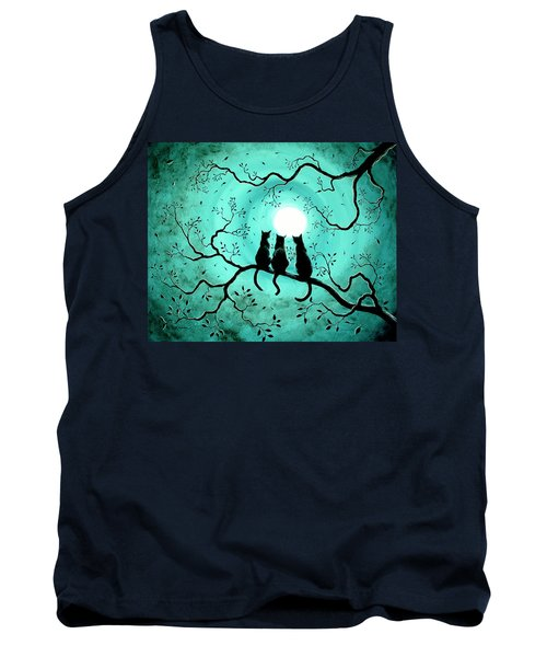 Three Black Cats Under A Full Moon Tank Top by Laura Iverson