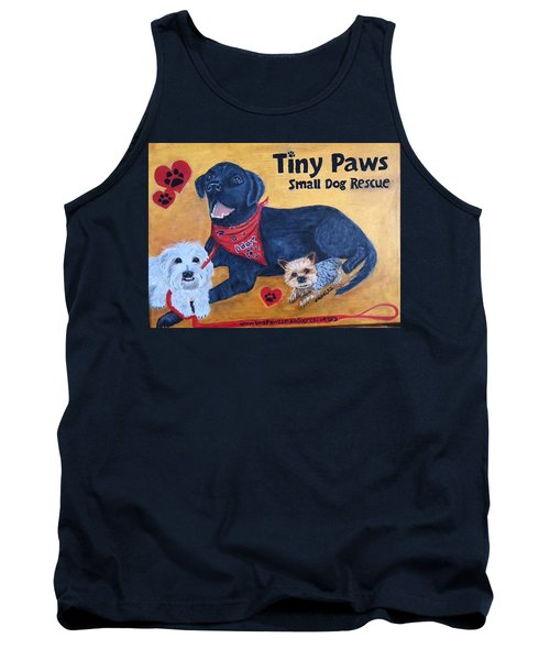 Tank Top featuring the painting Tiny Paws Small Dog Rescue by Sharon Schultz