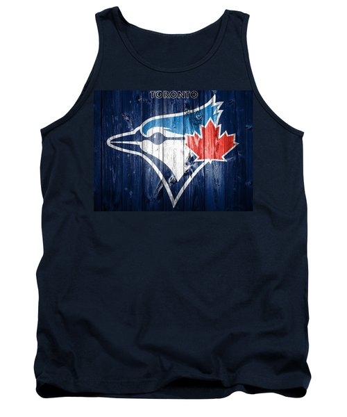 Tank Top featuring the mixed media Toronto Blue Jays Barn Door by Dan Sproul
