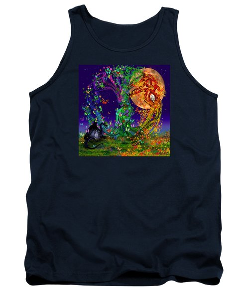 Tree Of Life With Owl And Dragon Tank Top by Michele Avanti