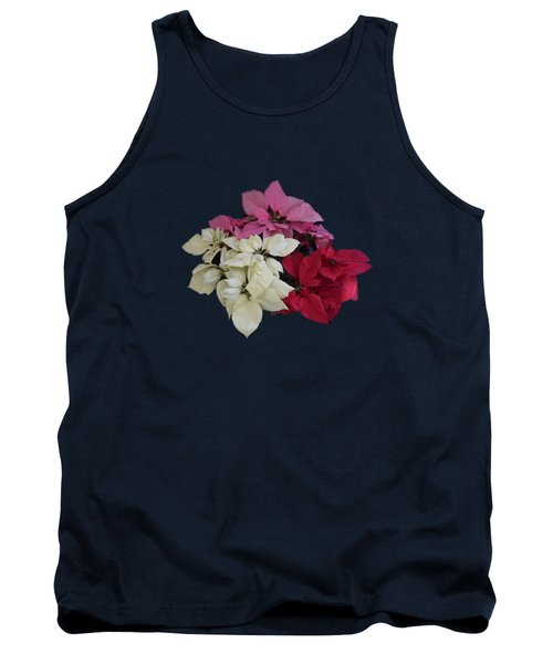 Tricolor Poinsettias Transparent Background   Tank Top