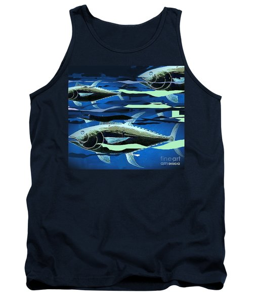 Tank Top featuring the painting Tuna Run by Andrew Drozdowicz