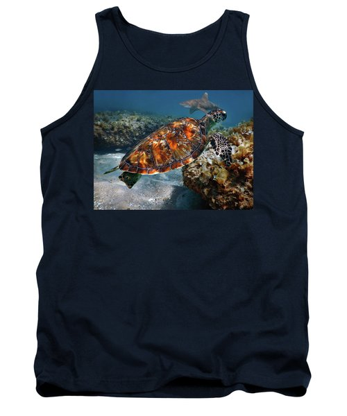Turtle And Shark Swimming At Ocean Reef Park On Singer Island Florida Tank Top