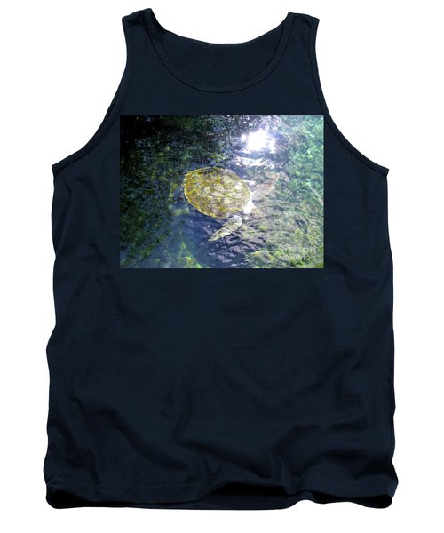 Tank Top featuring the photograph Turtle Water Glide by Francesca Mackenney