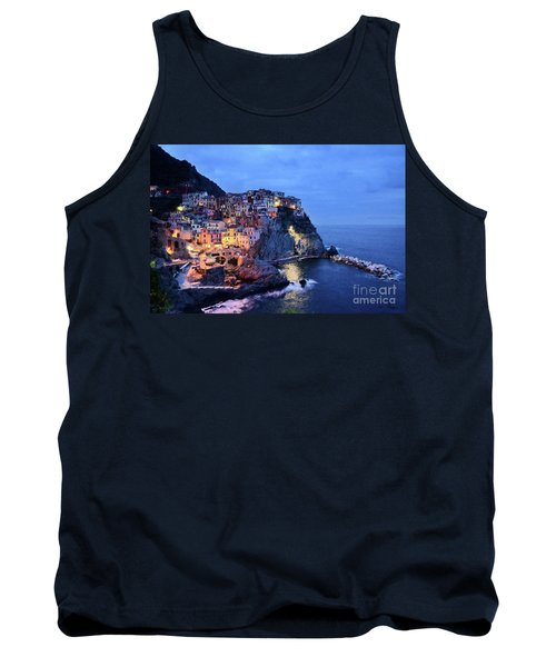 Tank Top featuring the mixed media Tuscany Like Amalfi Cinque Terre Evening Lights by Rosario Piazza