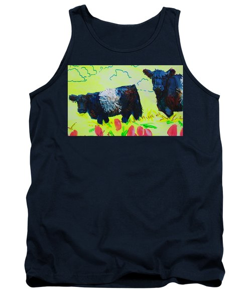 Two Belted Galloway Cows Looking At You Tank Top