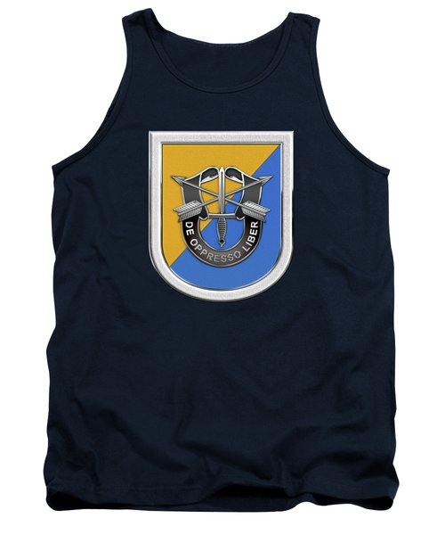U. S.  Army 8th Special Forces Group - 8 S F G  Beret Flash Over Green Beret Felt Tank Top by Serge Averbukh