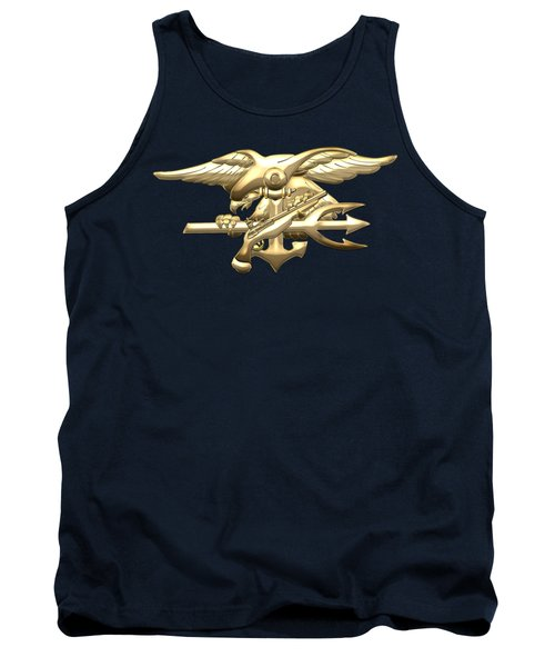 U. S. Navy S E A Ls Emblem On Blue Velvet Tank Top