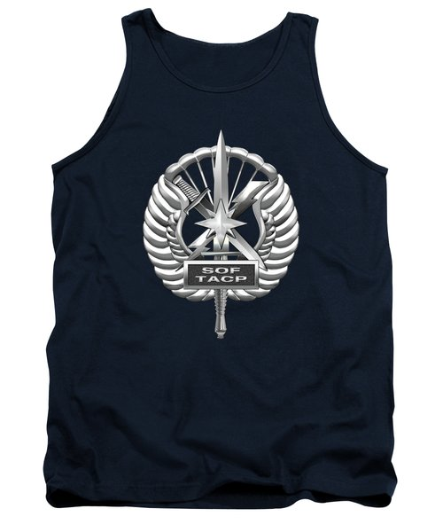 Tank Top featuring the digital art U.s. Air Force Tactical Air Control Party - Special Tactics Tacp Crest Over Blue Velvet by Serge Averbukh