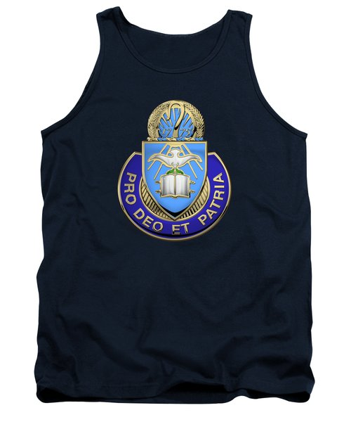 Tank Top featuring the digital art U. S. Army Chaplain Corps - Regimental Insignia Over Blue Velvet by Serge Averbukh