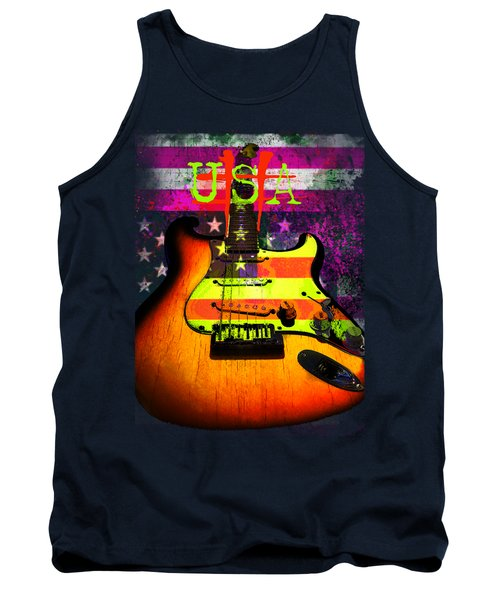 Tank Top featuring the photograph Usa Strat Guitar Music by Guitar Wacky