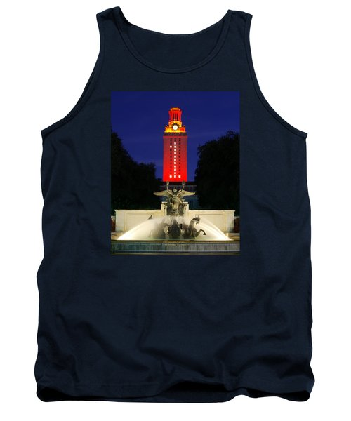 Tank Top featuring the photograph Ut Austin Tower Orange by Lisa  Spencer