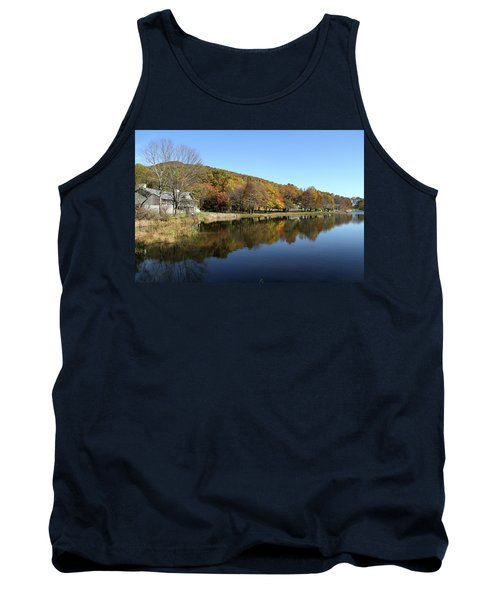 View Of Peaks Of Otter Lodge And Abbott Lake  In Autumn Tank Top by Emanuel Tanjala