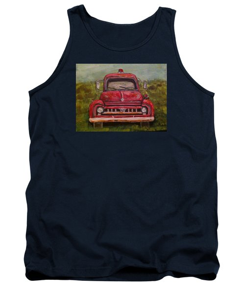 Tank Top featuring the painting Vintage  Ford Fire Truck by Belinda Lawson