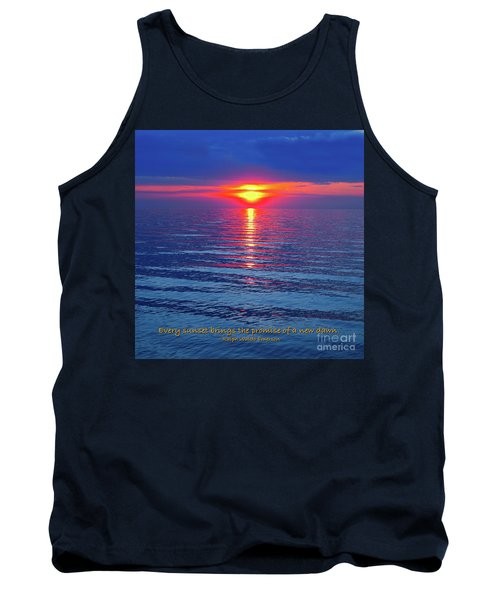 Tank Top featuring the photograph Vivid Sunset - Emerson Quote - Square Format by Ginny Gaura