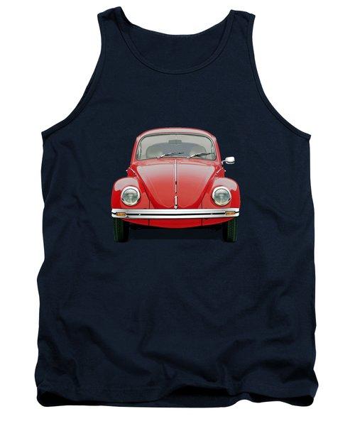 Volkswagen Type 1 - Red Volkswagen Beetle On Green Canvas Tank Top