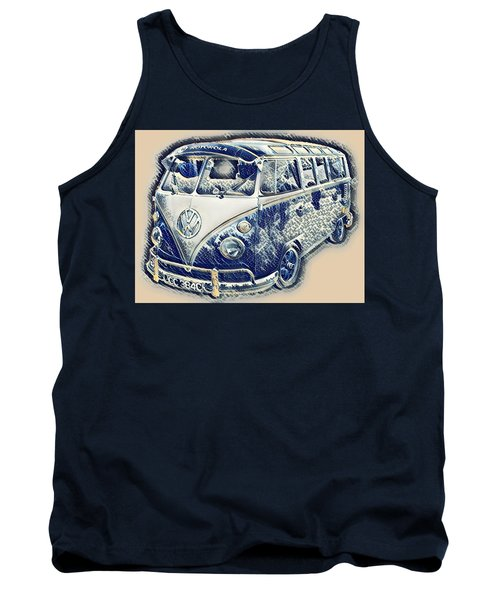 Vw Camper Van Waves Tank Top by John Colley