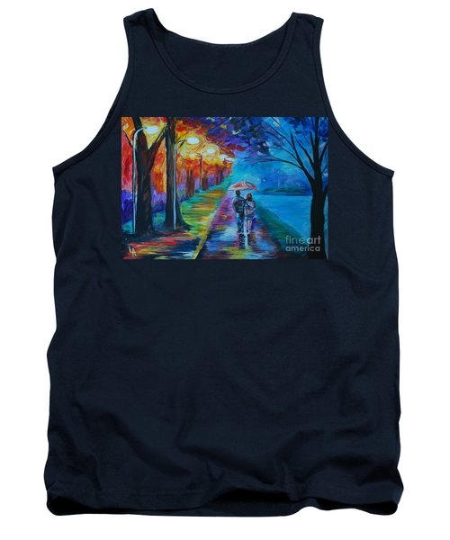 Tank Top featuring the painting Walk By The Lake  by Leslie Allen