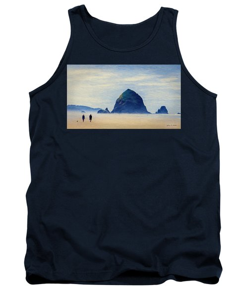 Tank Top featuring the painting Walk On The Beach by Jeff Kolker