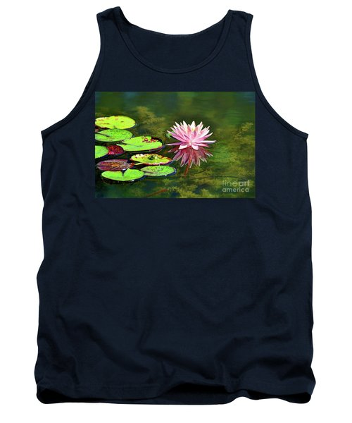 Water Lily And Frog Tank Top by Savannah Gibbs