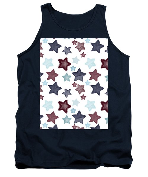 Watercolor Blue Red Stars Tank Top by P S