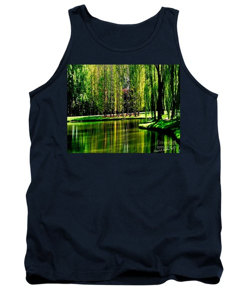 Weeping Willow Tree Reflective Moments Tank Top by Carol F Austin