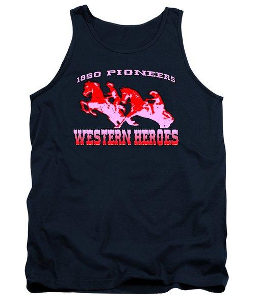Western Heroes 1850 Pioneers - Tshirt Design Tank Top by Art America Gallery Peter Potter
