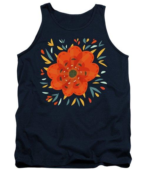 Whimsical Decorative Orange Flower Tank Top