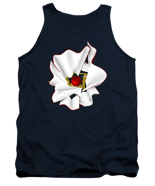 White Abstract Flower Tank Top