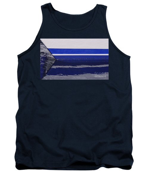 White And Blue Boat Symmetry Tank Top