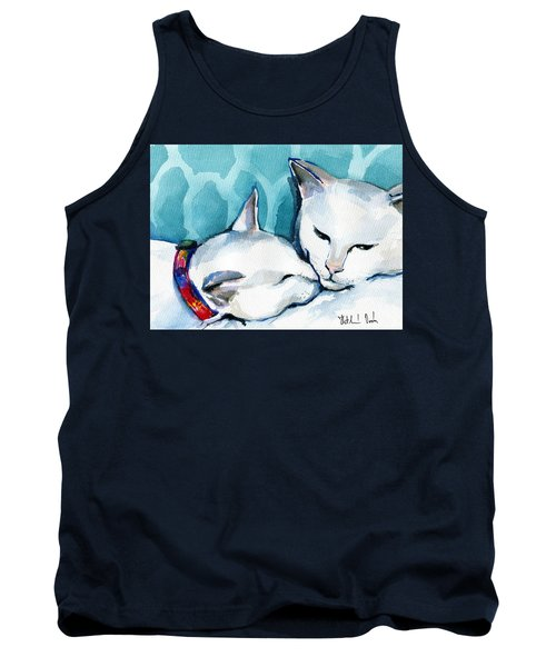 White Cat Affection Tank Top