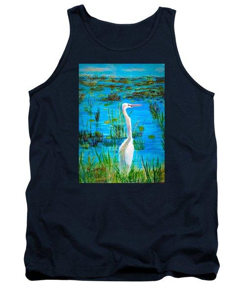 White Egret In Florida Tank Top