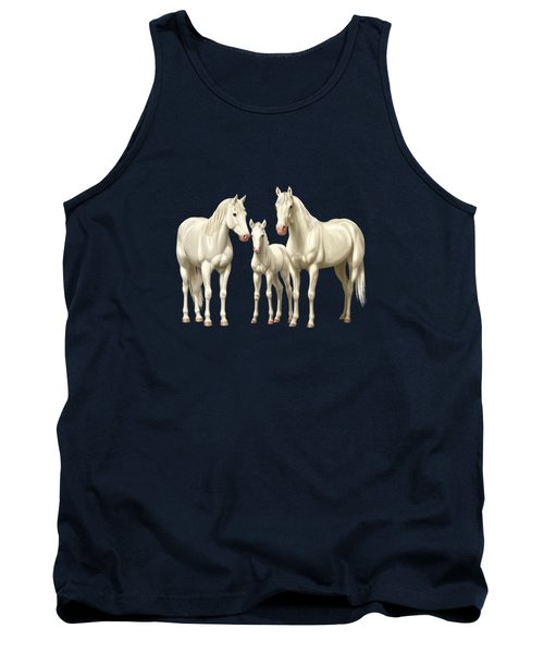 White Horses In Winter Pasture Tank Top