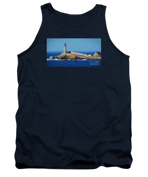 Tank Top featuring the painting White Island Lighthouse by Mim White