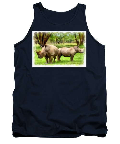 Tank Top featuring the painting White Rhinos by Maciek Froncisz
