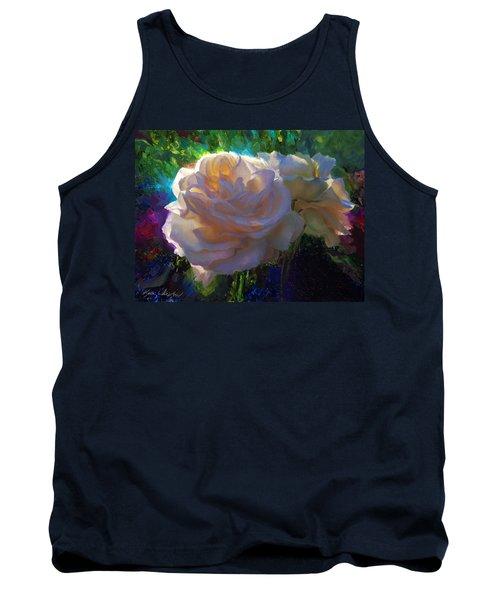White Roses In The Garden - Backlit Flowers - Summer Rose Tank Top
