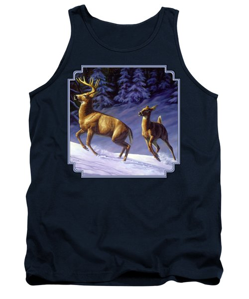 Whitetail Deer Painting - Startled Tank Top by Crista Forest