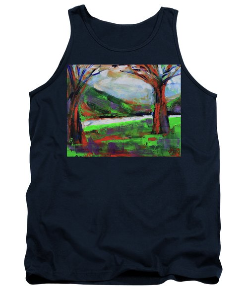 Tank Top featuring the painting Wild Flowers On The River Banks by Walter Fahmy