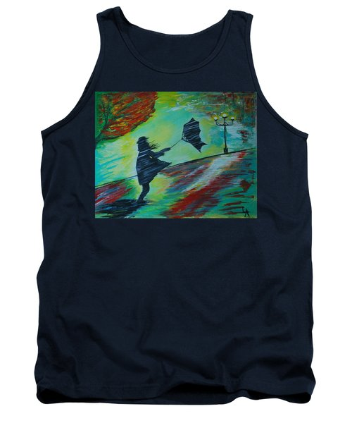 Tank Top featuring the painting Windy Escapade by Leslie Allen