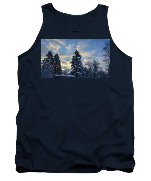 Winter Dawn Over Spruce Trees Tank Top
