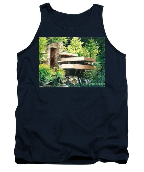 Tank Top featuring the painting Fallingwater-a Woodland Retreat By Frank Lloyd Wright by Barbara Jewell