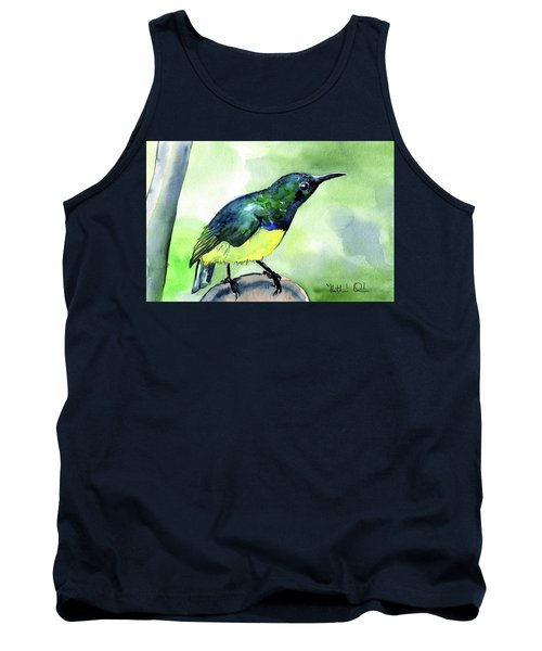 Tank Top featuring the painting Yellow Bellied Sunbird by Dora Hathazi Mendes