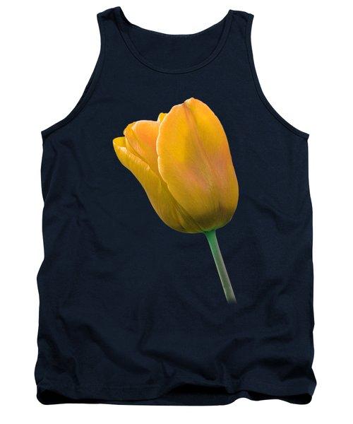 Yellow Tulip On Black Tank Top by Gill Billington