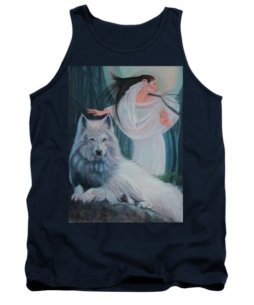 Zuni Maiden With Her White Wolf Tank Top